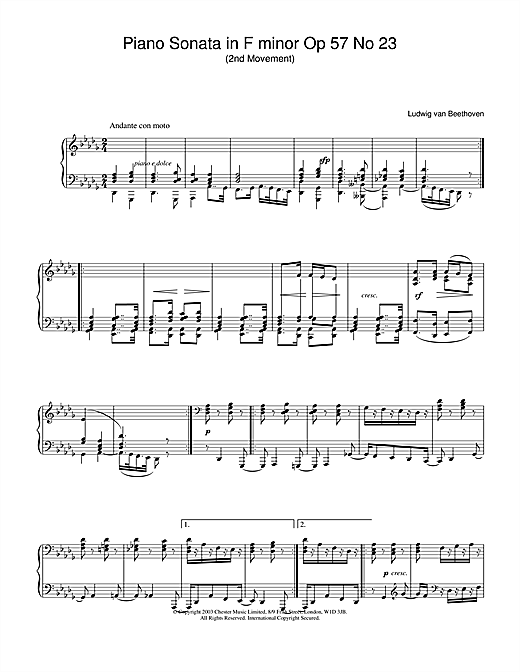 Ludwig van Beethoven Piano Sonata in F minor Op.57 No.23 (Appassionata), 2nd Movement sheet music notes and chords