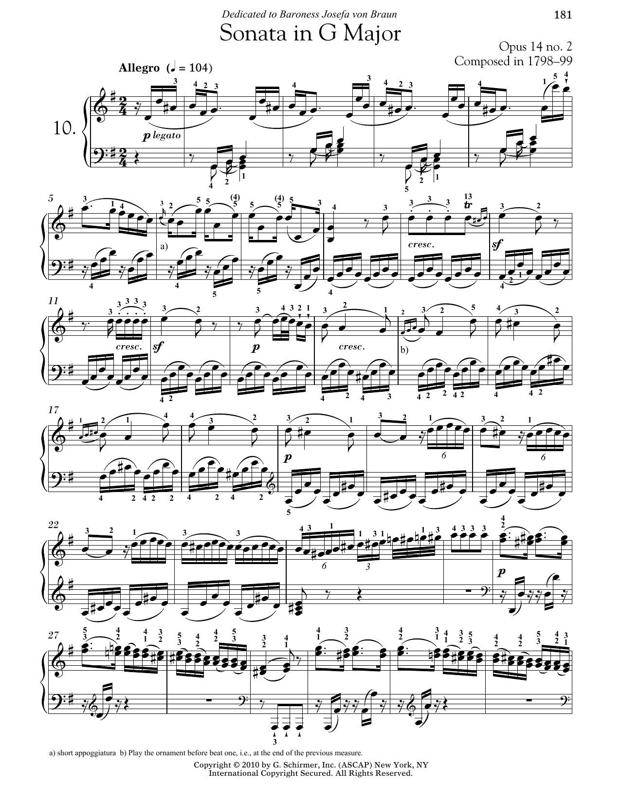 Ludwig van Beethoven Piano Sonata No. 10 In G Major, Op. 14, No. 2 sheet music notes and chords. Download Printable PDF.