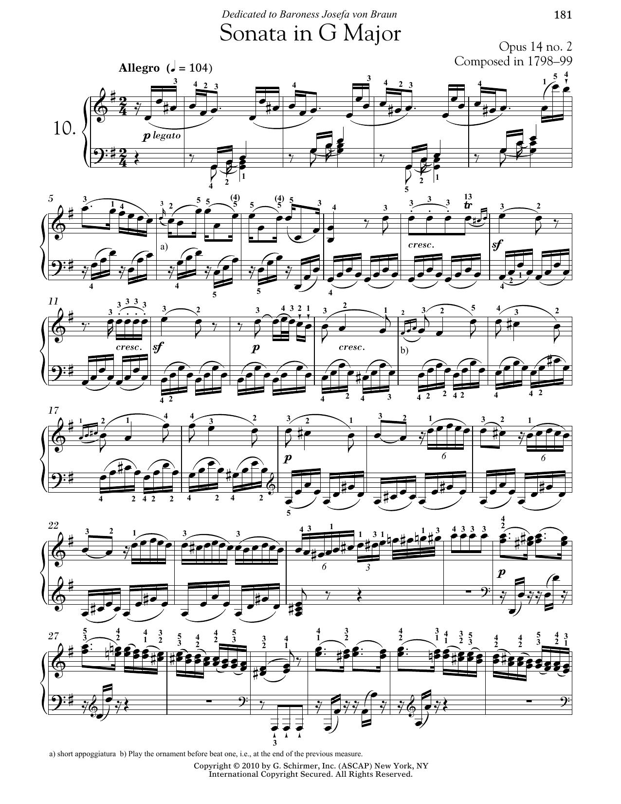 Ludwig van Beethoven Piano Sonata No. 10 In G Major, Op. 14, No. 2 sheet music notes and chords