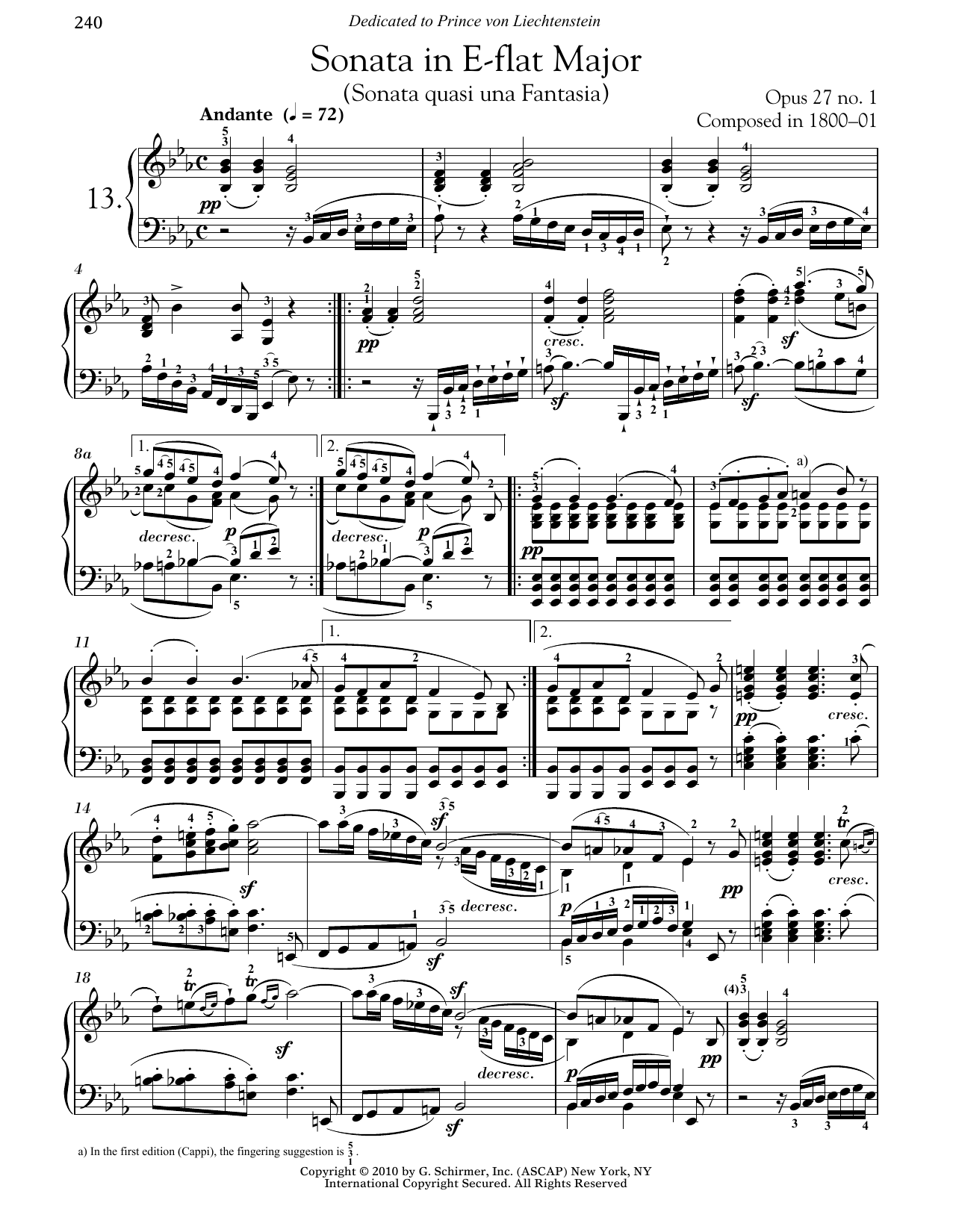 Ludwig van Beethoven Piano Sonata No. 13 In E-flat Major, Op. 27, No. 1 sheet music notes and chords. Download Printable PDF.