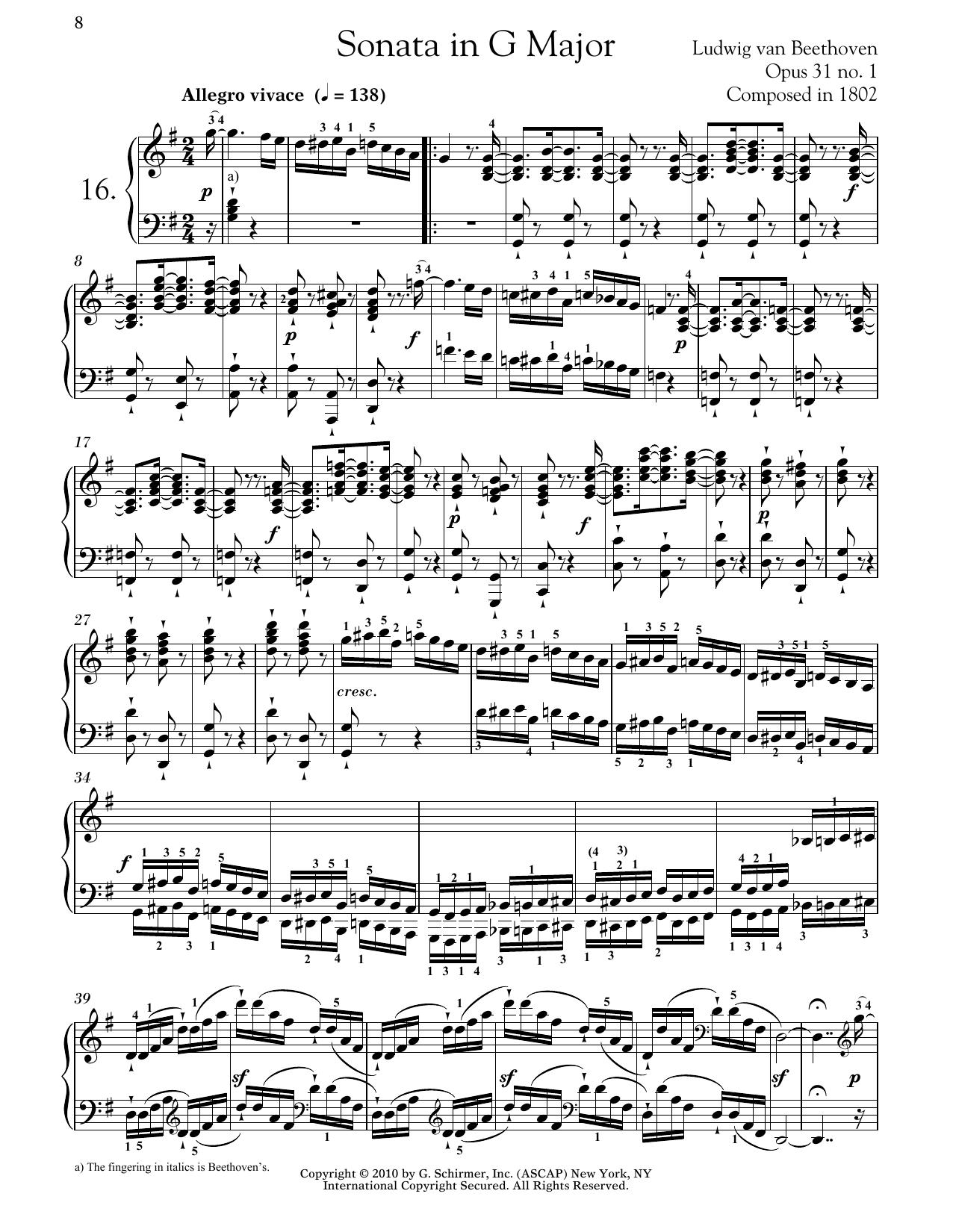 Ludwig van Beethoven Piano Sonata No. 16 In G Major, Op. 31, No. 1 sheet music notes and chords. Download Printable PDF.