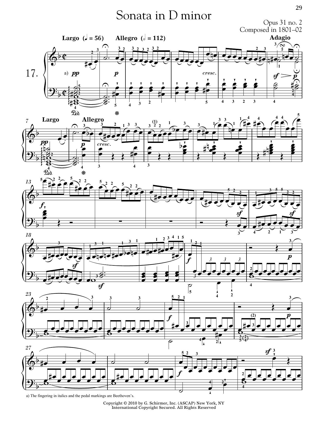 Ludwig van Beethoven Piano Sonata No. 17 In D Minor, Op. 31, No. 2