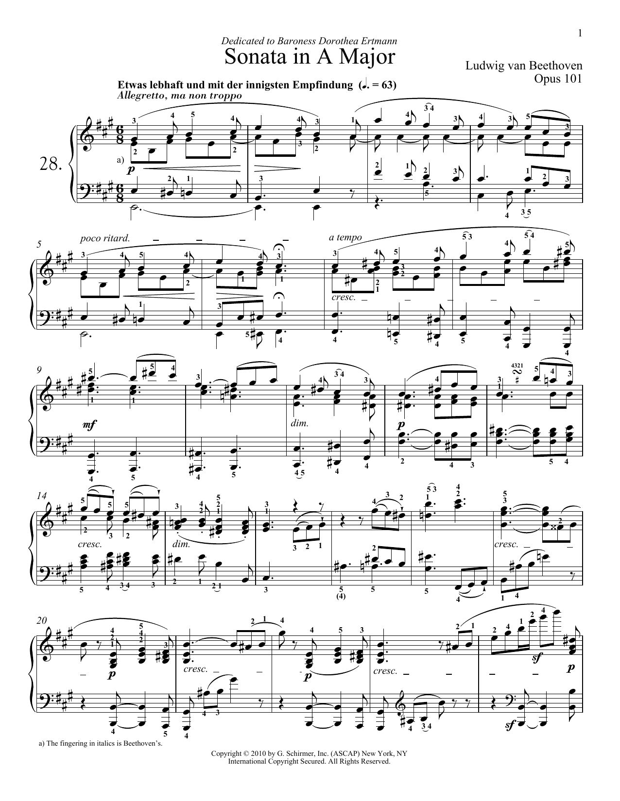 Ludwig van Beethoven Piano Sonata No. 28 In A Major, Op. 101 sheet music notes and chords