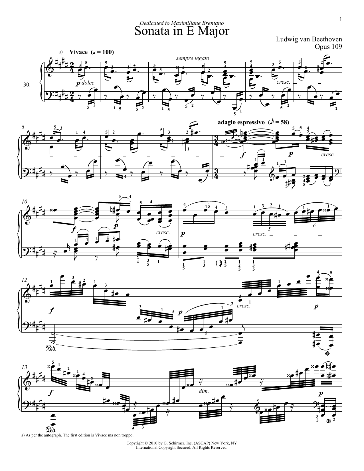 Ludwig van Beethoven Piano Sonata No. 30 In E Major, Op. 109 sheet music notes and chords. Download Printable PDF.