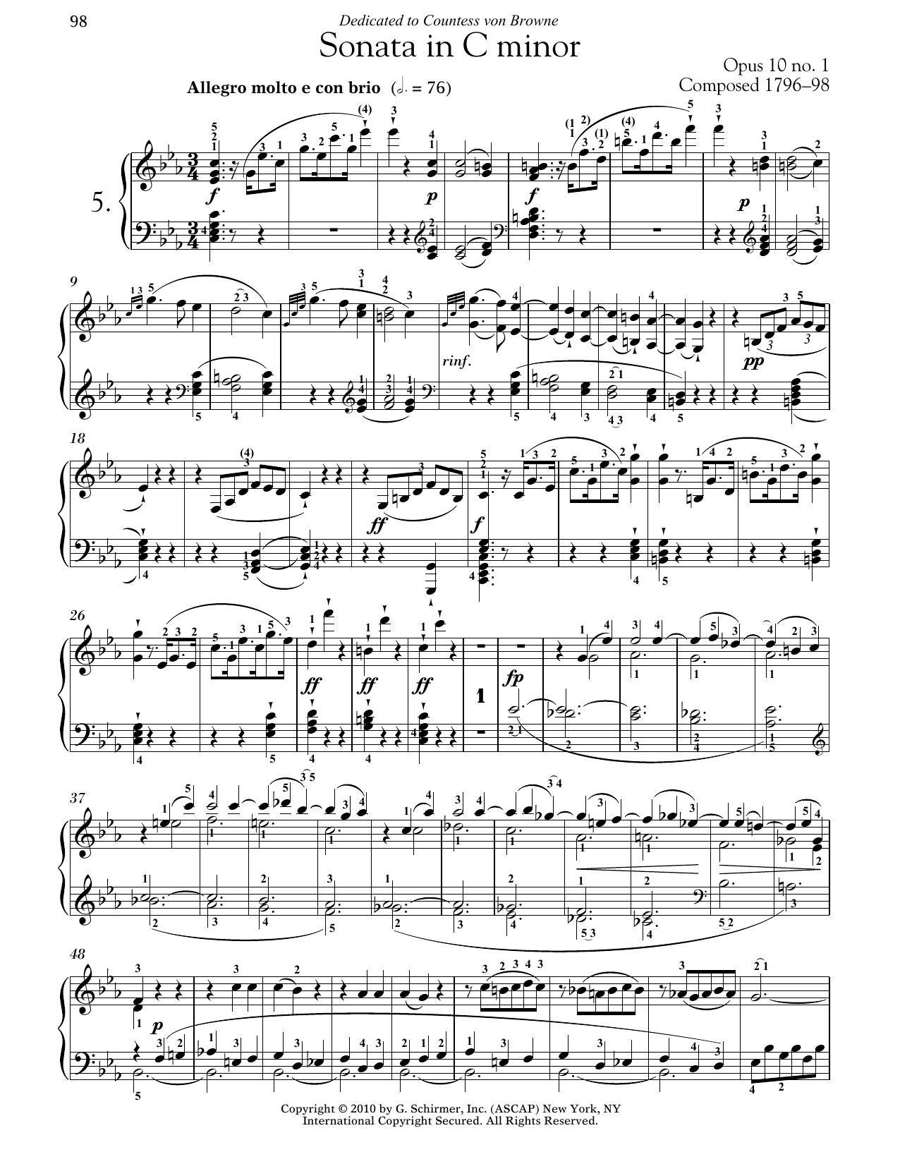 Ludwig van Beethoven Piano Sonata No. 5 In C Minor, Op. 10, No. 1 sheet music notes and chords. Download Printable PDF.