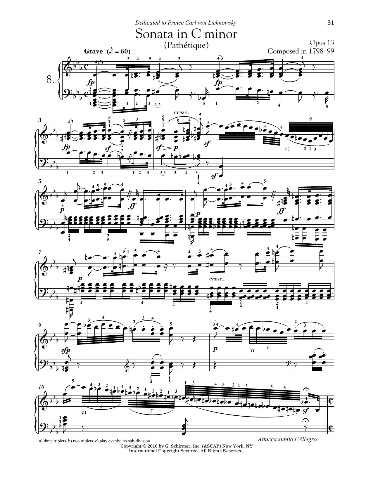Ludwig van Beethoven Piano Sonata No. 8 In C Minor, Op. 13