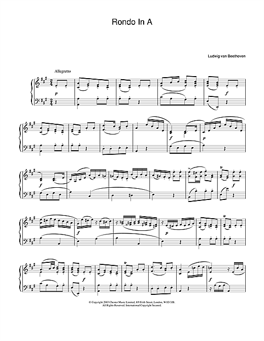 Ludwig van Beethoven Rondo In A sheet music notes and chords. Download Printable PDF.