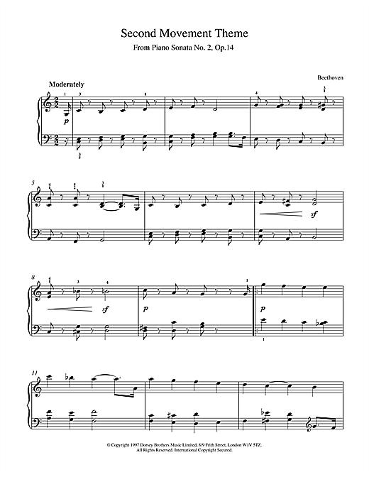 Ludwig van Beethoven Slow Movement Piano Sonata Op.2 No.14 sheet music notes and chords. Download Printable PDF.