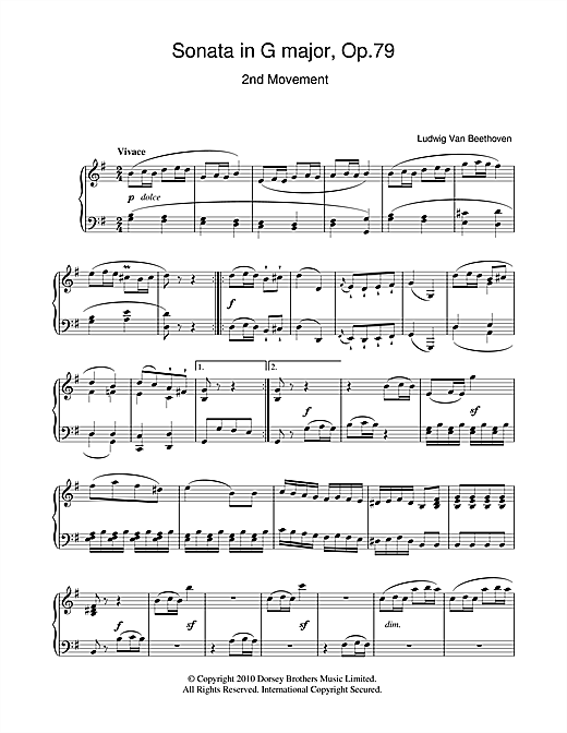 Ludwig van Beethoven Sonata In G Major Op. 79 2nd Movement sheet music notes and chords. Download Printable PDF.