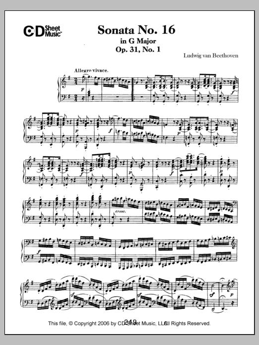Ludwig van Beethoven Sonata No. 16 In G Major, Op. 31, No. 1 sheet music notes and chords. Download Printable PDF.