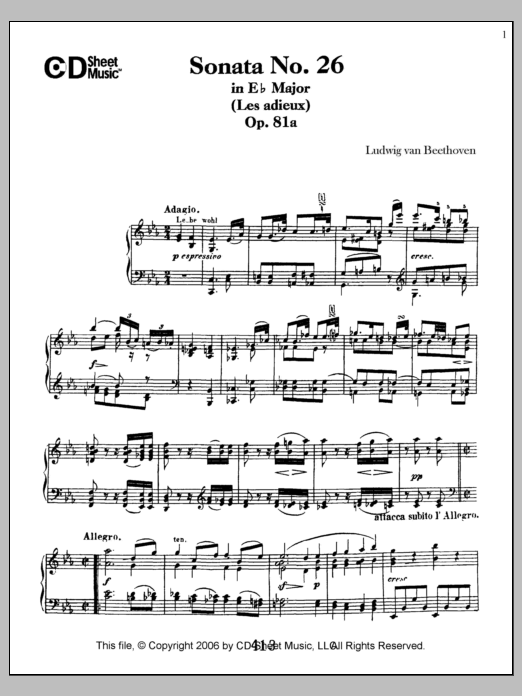 Ludwig van Beethoven Sonata No. 26 In E-flat Major (les Adieux), Op. 81a sheet music notes and chords. Download Printable PDF.