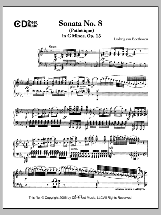 Ludwig van Beethoven Sonata No. 8 In C Minor (pathetique), Op. 13 sheet music notes and chords. Download Printable PDF.