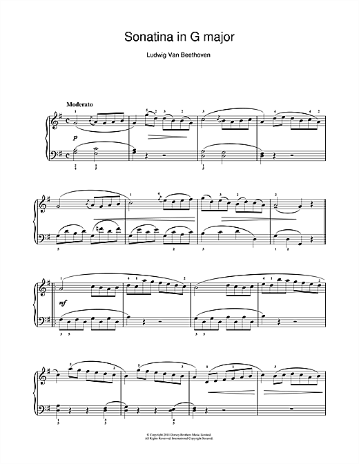 Ludwig van Beethoven Sonatina In G Major (First Movement) sheet music notes and chords. Download Printable PDF.