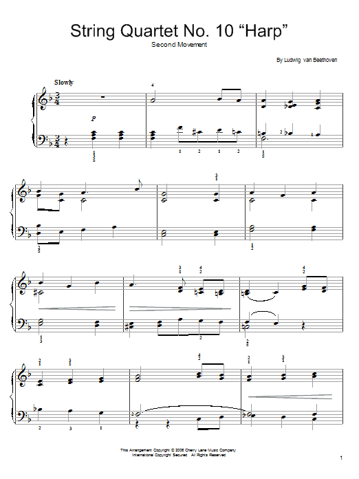 Ludwig van Beethoven String Quartet No. 10 In E-Flat, Op. 74 sheet music notes and chords