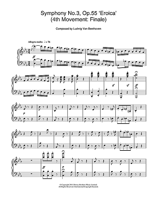Ludwig van Beethoven Symphony No.3 (Eroica), 4th Movement: Finale sheet music notes and chords. Download Printable PDF.