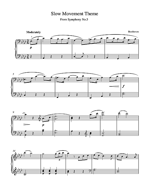 Ludwig van Beethoven Symphony No.5, Slow Movement Theme sheet music notes and chords