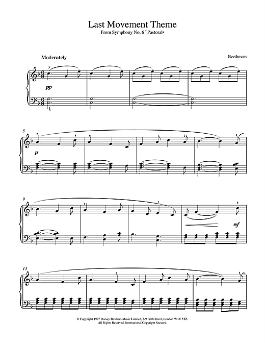 Ludwig van Beethoven Symphony No.6 In F Major (Pastoral), 5th Movement sheet music notes and chords