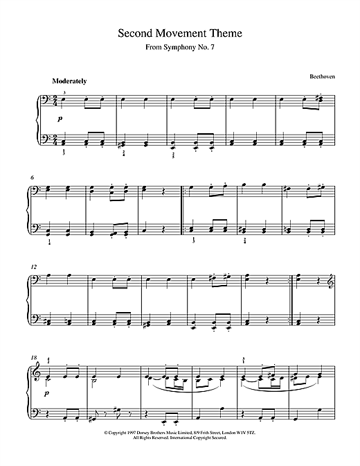 Ludwig van Beethoven Symphony No.7, 2nd Movement Theme sheet music notes and chords