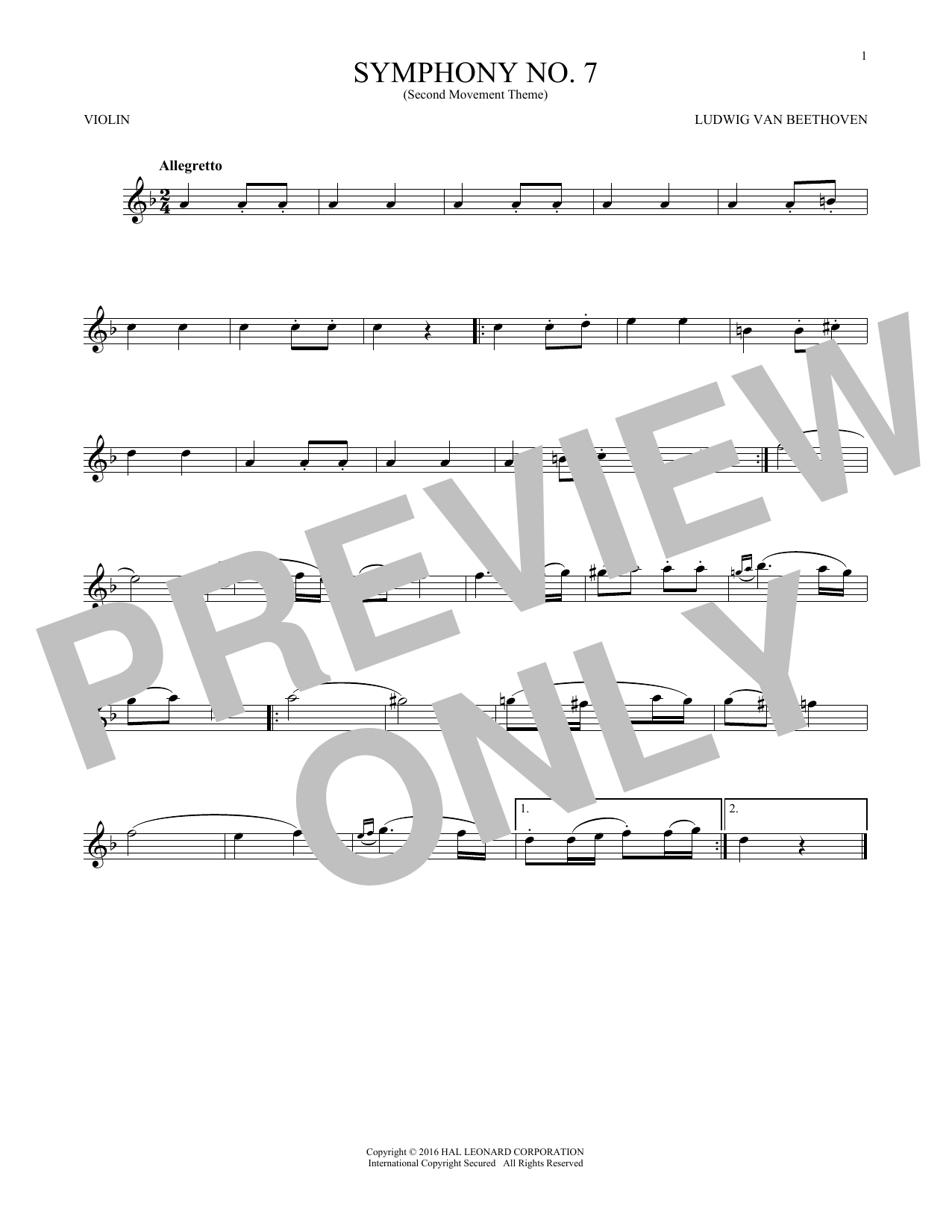 Ludwig van Beethoven Symphony No. 7 In A Major, Second Movement (Allegretto) sheet music notes and chords. Download Printable PDF.