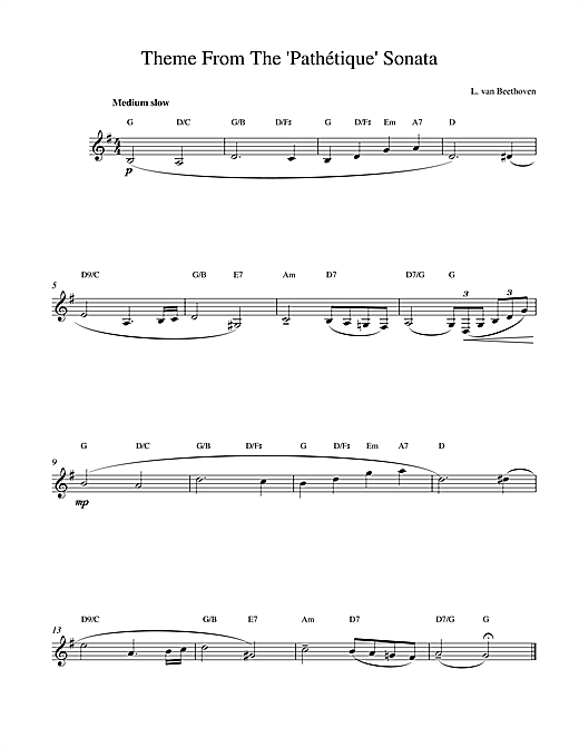 Ludwig van Beethoven Theme From Pathetique Sonata sheet music notes and chords