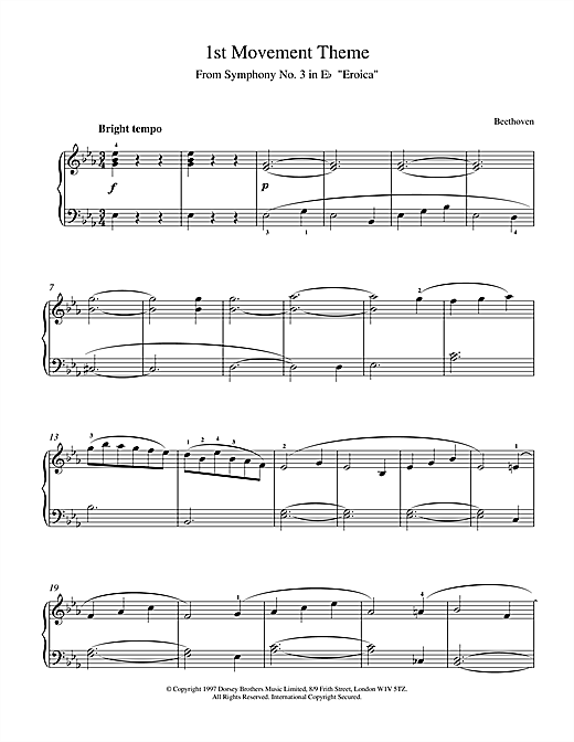 Ludwig van Beethoven Theme from Symphony No. 3 (Eroica), 1st Movement sheet music notes and chords