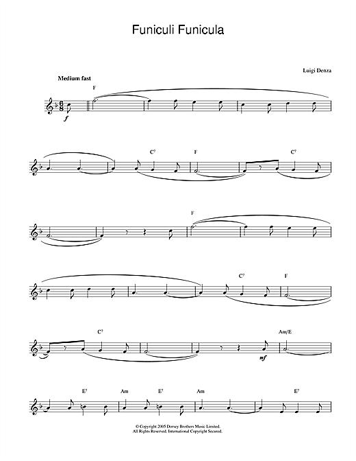 Luigi Denza Funiculi, Funicula sheet music notes and chords