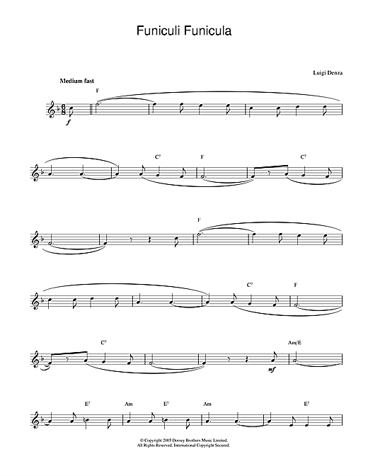 Luigi Denza Funiculi, Funicula sheet music notes and chords. Download Printable PDF.