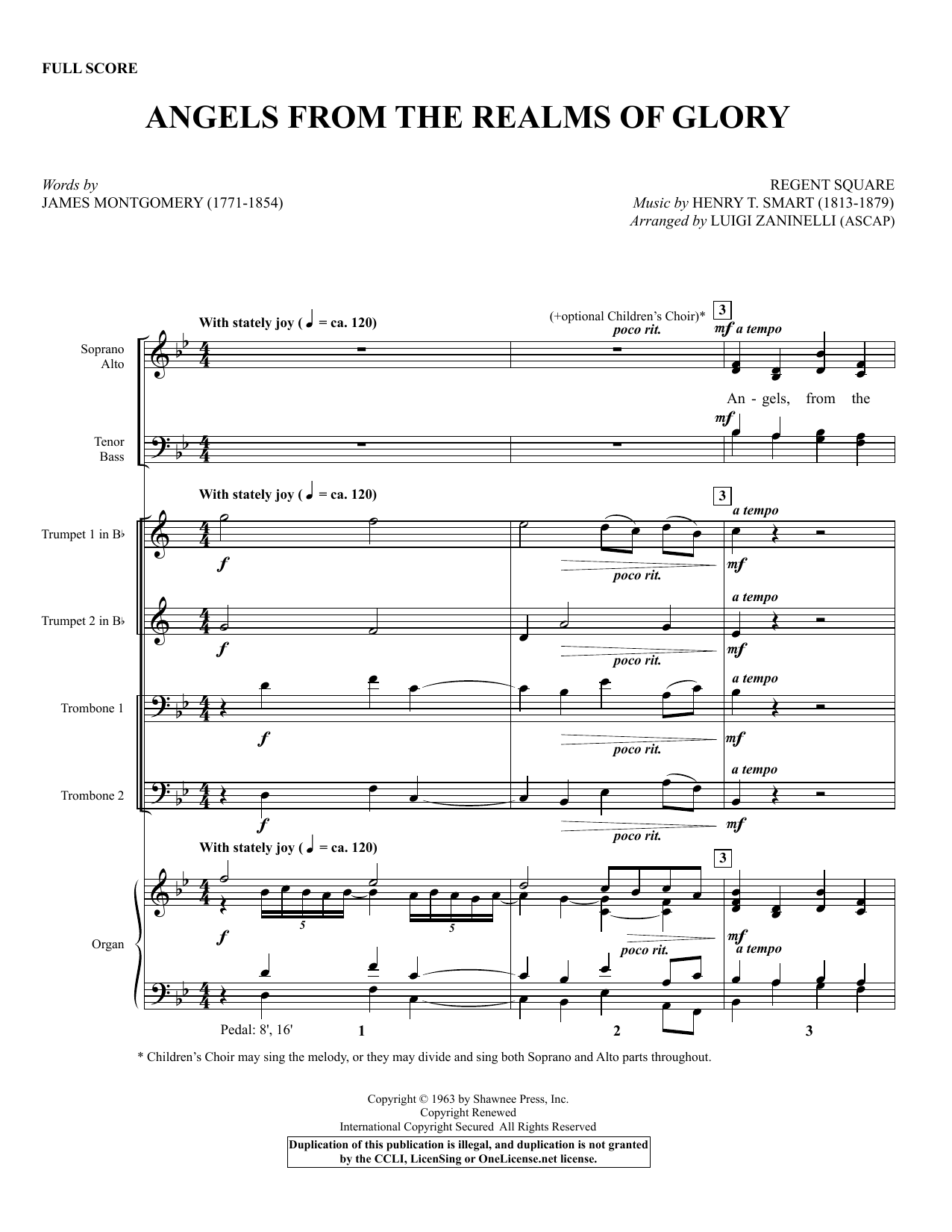 Luigi Zaninelli Angels from the Realms of Glory - Full Score sheet music notes and chords. Download Printable PDF.