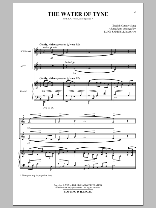 Luigi Zaninelli The Water Of Tyne sheet music notes and chords. Download Printable PDF.