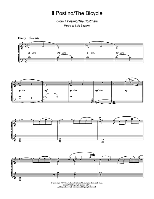 Luis Bacalov Il Postino/The Bicycle (from Il Postino/The Postman) sheet music notes and chords. Download Printable PDF.
