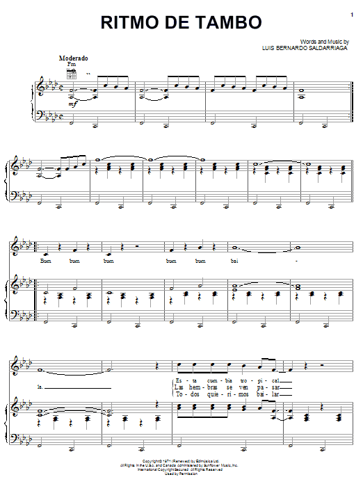 Luis Bernardo Saldarriaga Ritmo De Tambo sheet music notes and chords. Download Printable PDF.