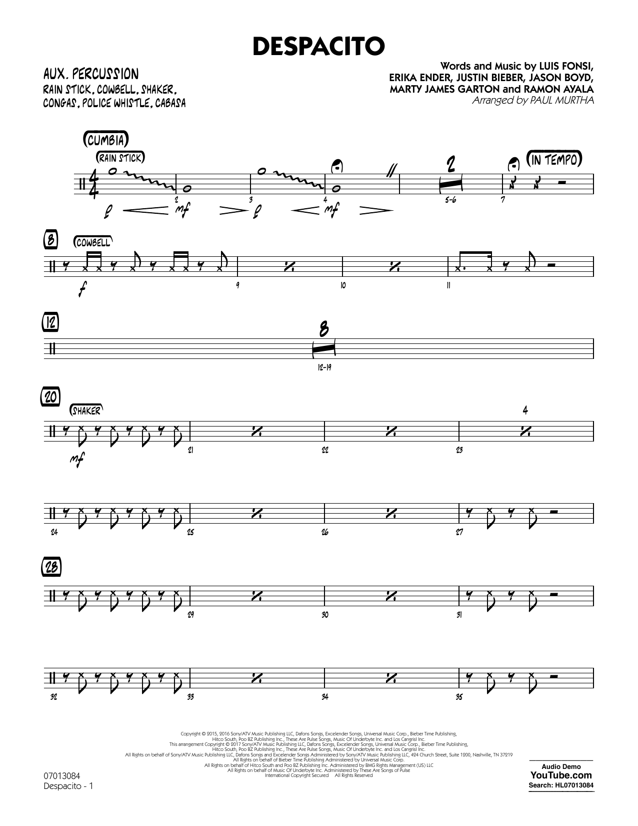 Paul Murtha Despacito - Aux Percussion sheet music notes and chords. Download Printable PDF.