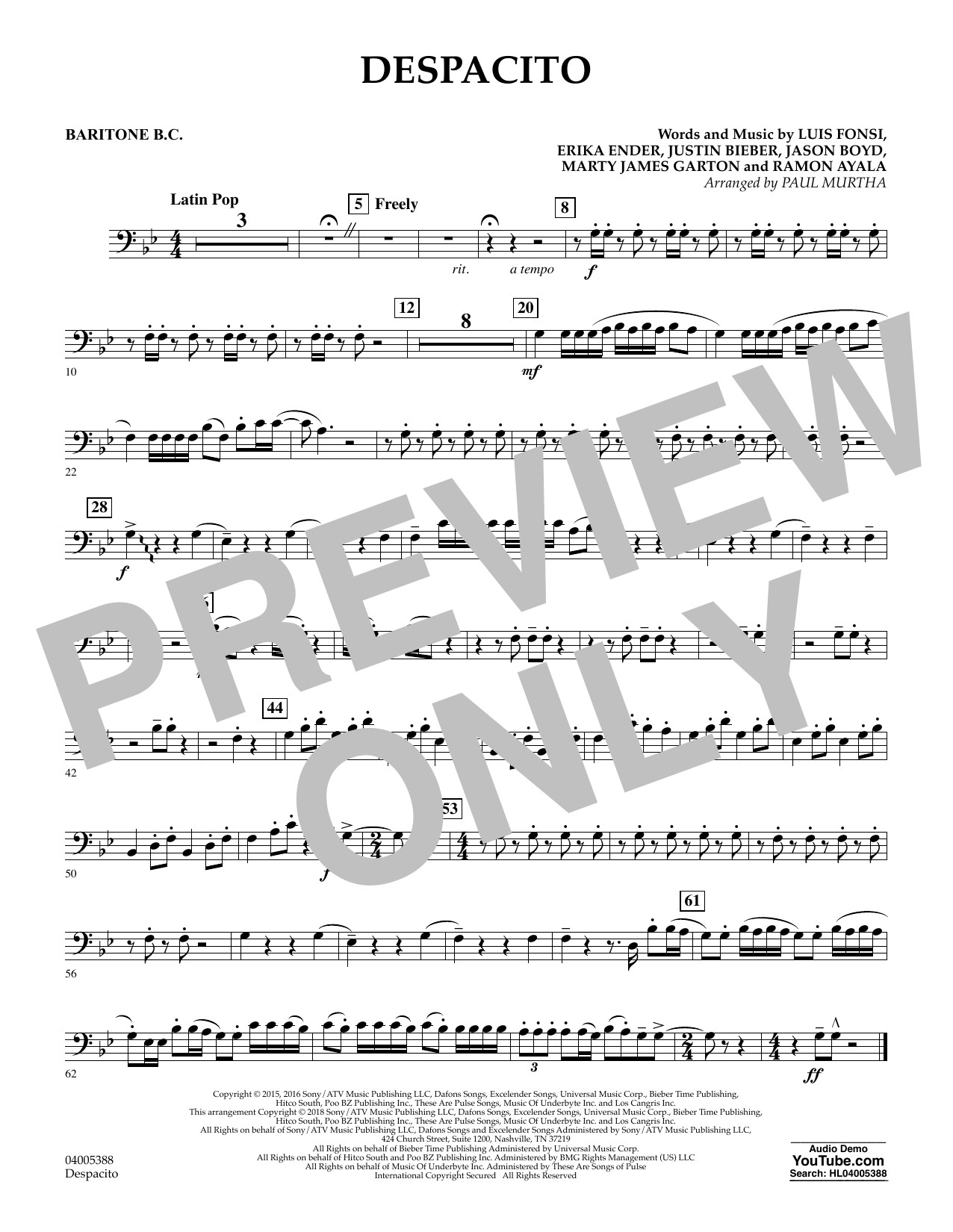Luis Fonsi Despacito (feat. Daddy Yankee) (arr. Paul Murtha) - Baritone B.C. sheet music notes and chords. Download Printable PDF.