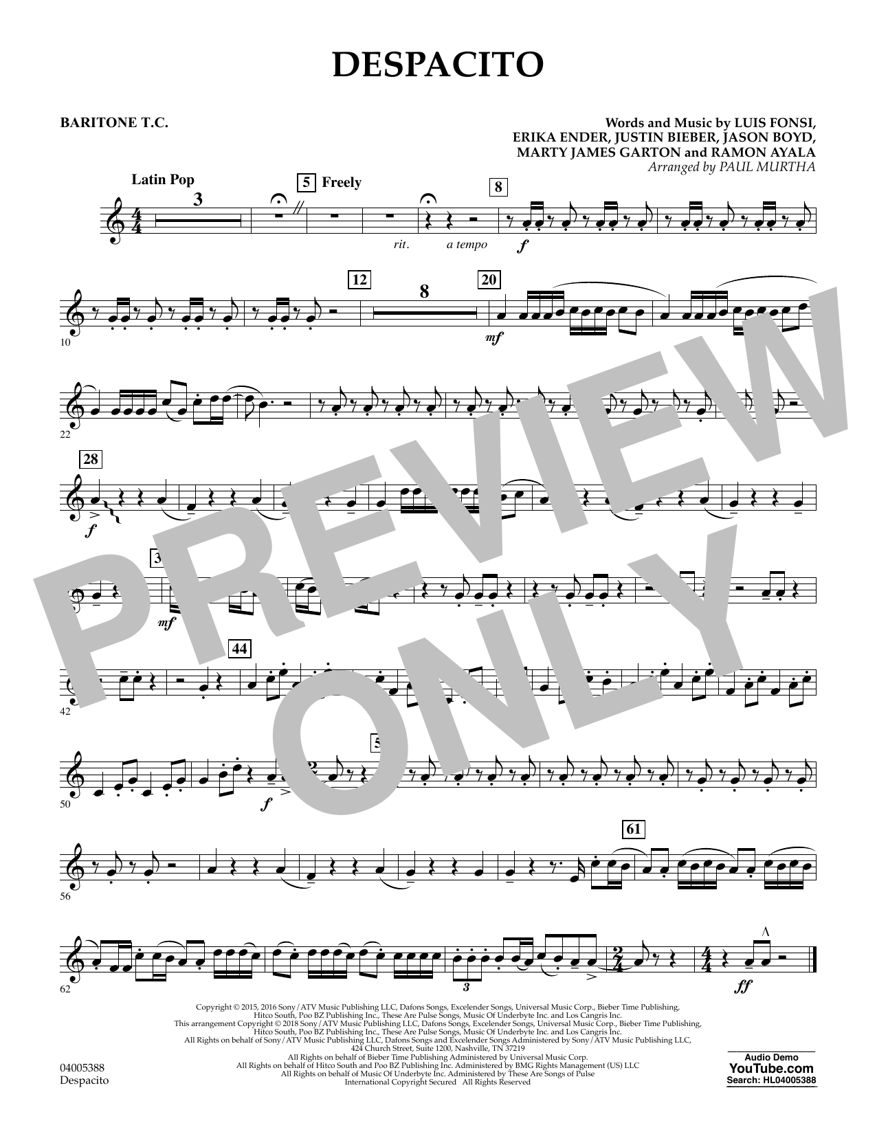Luis Fonsi Despacito (feat. Daddy Yankee) (arr. Paul Murtha) - Baritone T.C. sheet music notes and chords. Download Printable PDF.