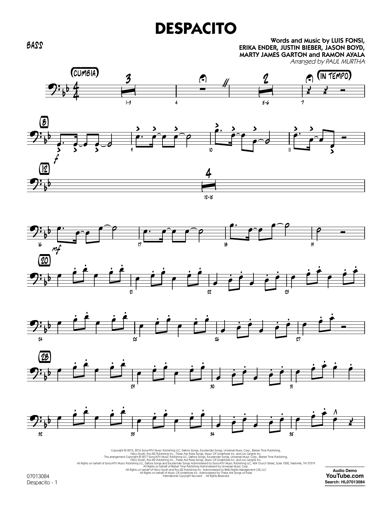 Paul Murtha Despacito - Bass sheet music notes and chords. Download Printable PDF.