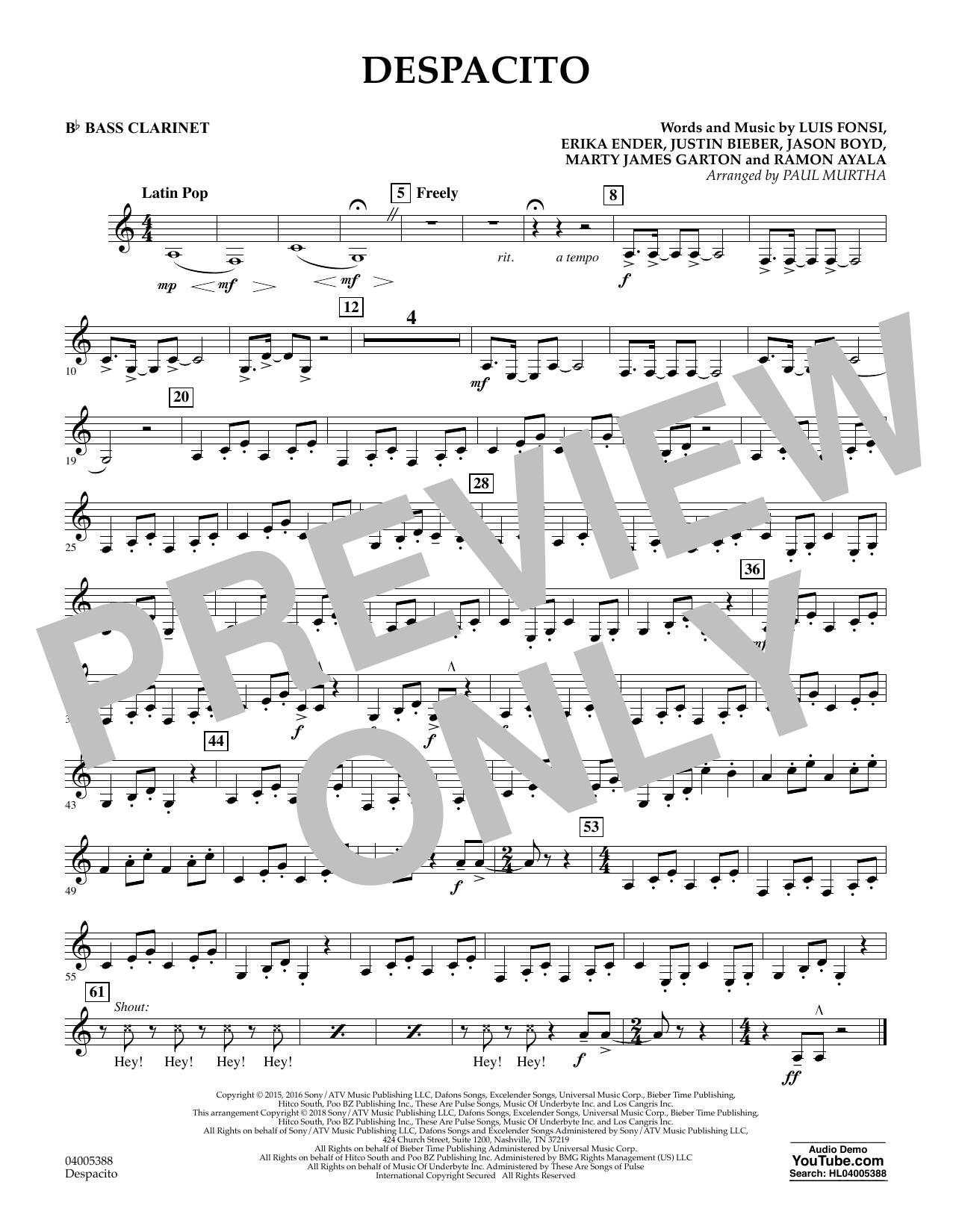 Luis Fonsi Despacito (feat. Daddy Yankee) (arr. Paul Murtha) - Bb Bass Clarinet sheet music notes and chords. Download Printable PDF.
