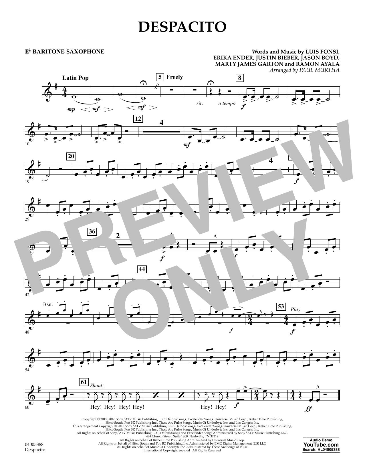 Luis Fonsi Despacito (feat. Daddy Yankee) (arr. Paul Murtha) - Eb Baritone Saxophone sheet music notes and chords. Download Printable PDF.