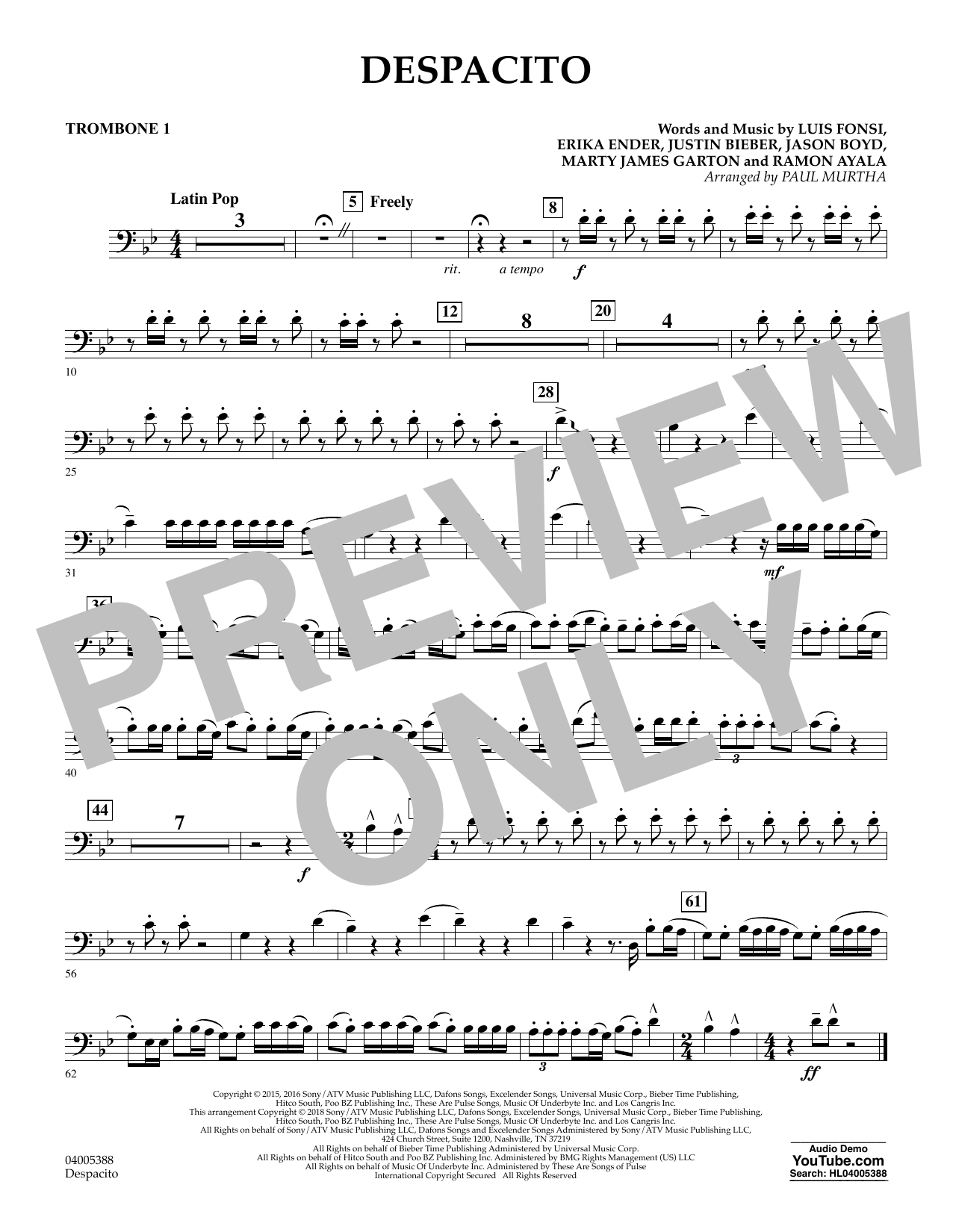 Paul Murtha Despacito - Trombone 1 sheet music notes and chords. Download Printable PDF.