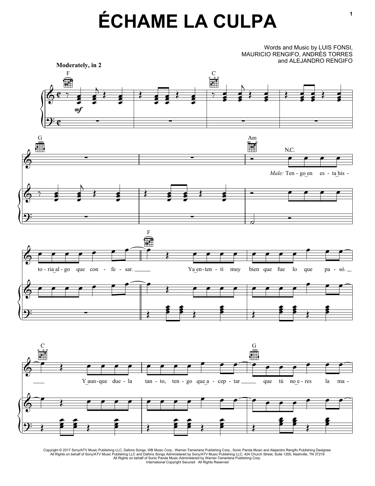 Luis Fonsi and Demi Lovato Echame La Culpa sheet music notes and chords