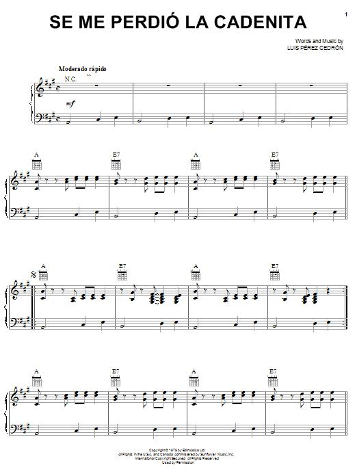 Luis Pérez Cedrón Se Me Perdió La Cadenita sheet music notes and chords