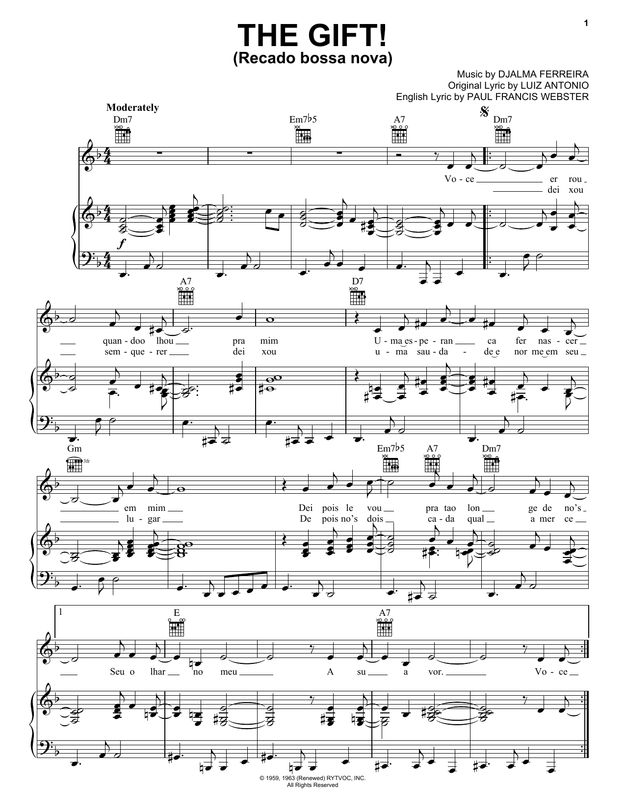 Luiz Antonio The Gift! (Recado Bossa Nova) sheet music notes and chords. Download Printable PDF.