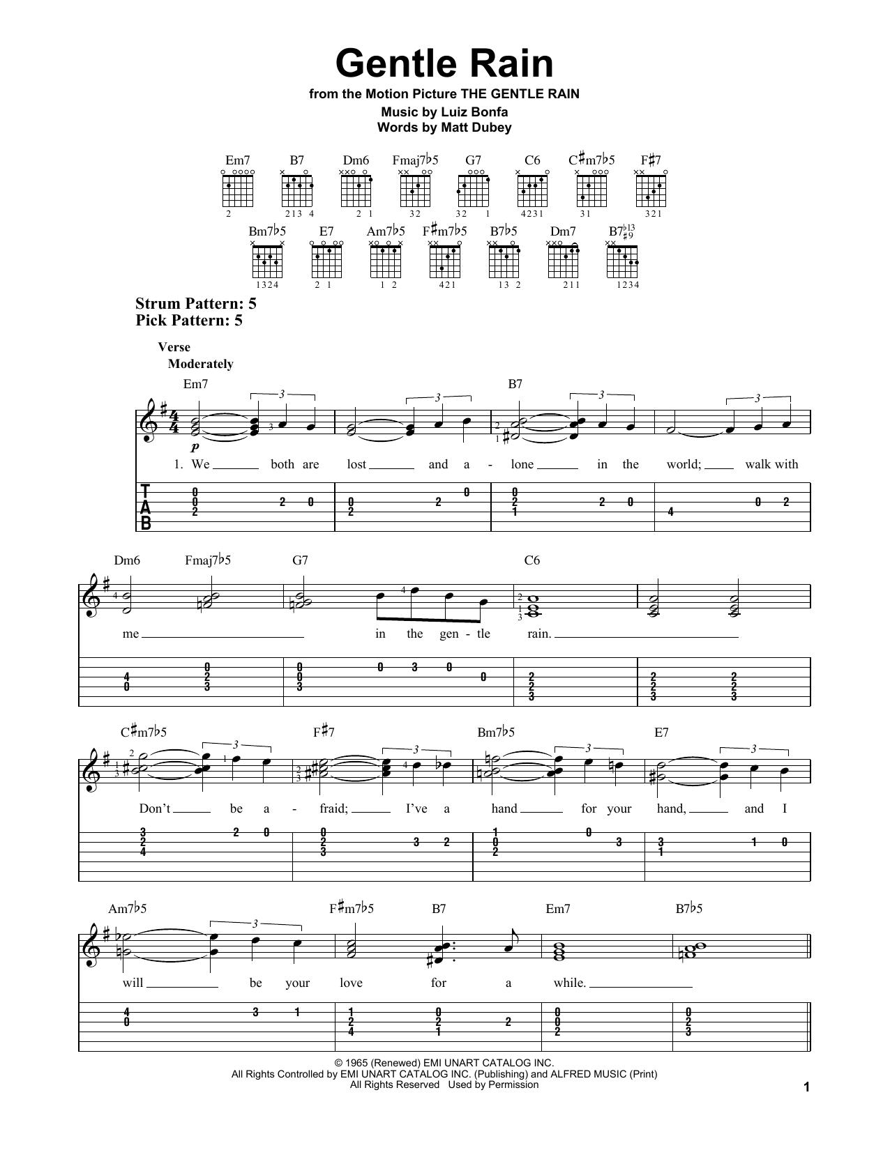 Luiz Bonfa Gentle Rain sheet music notes and chords. Download Printable PDF.