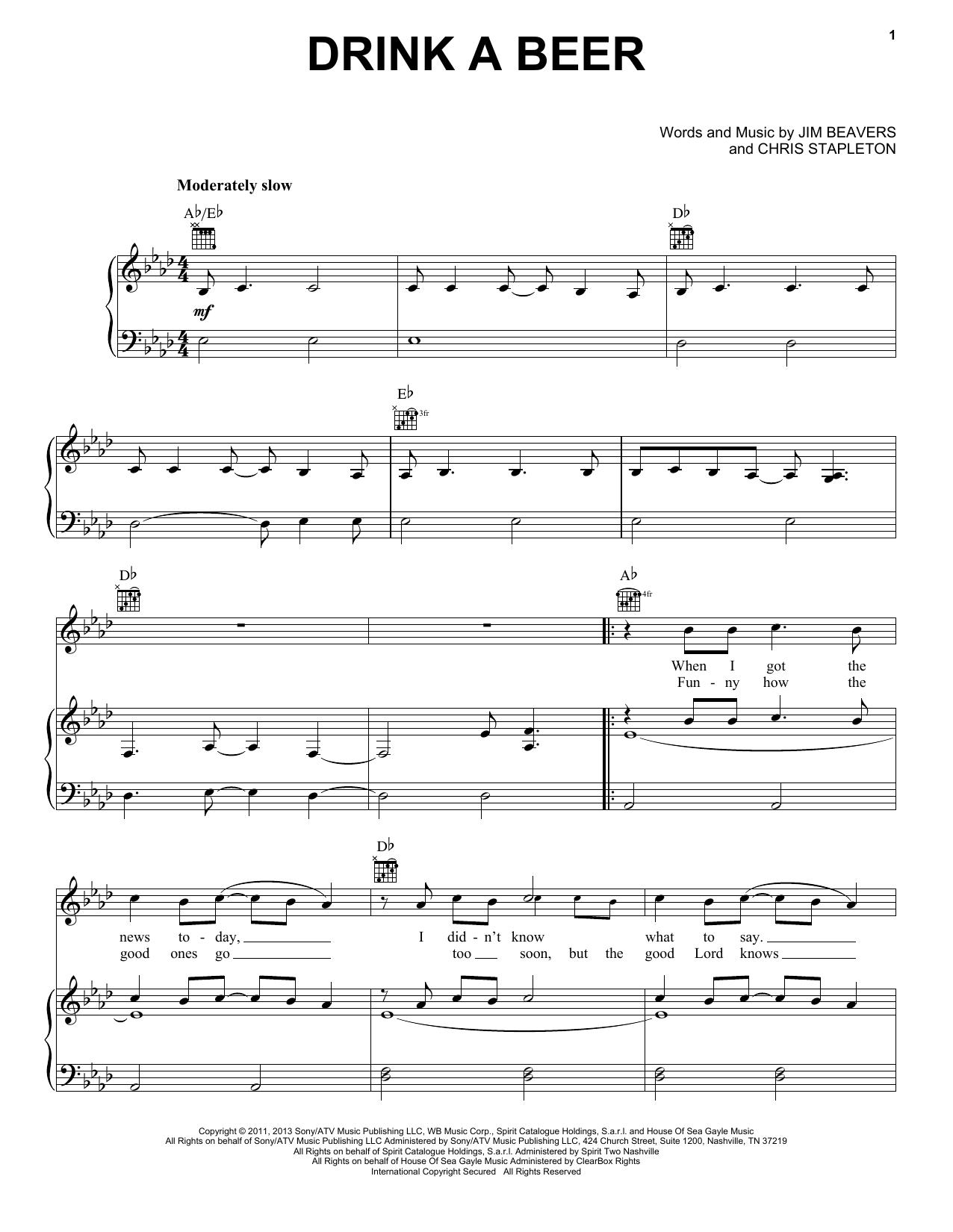 Luke Bryan Drink A Beer sheet music notes and chords. Download Printable PDF.