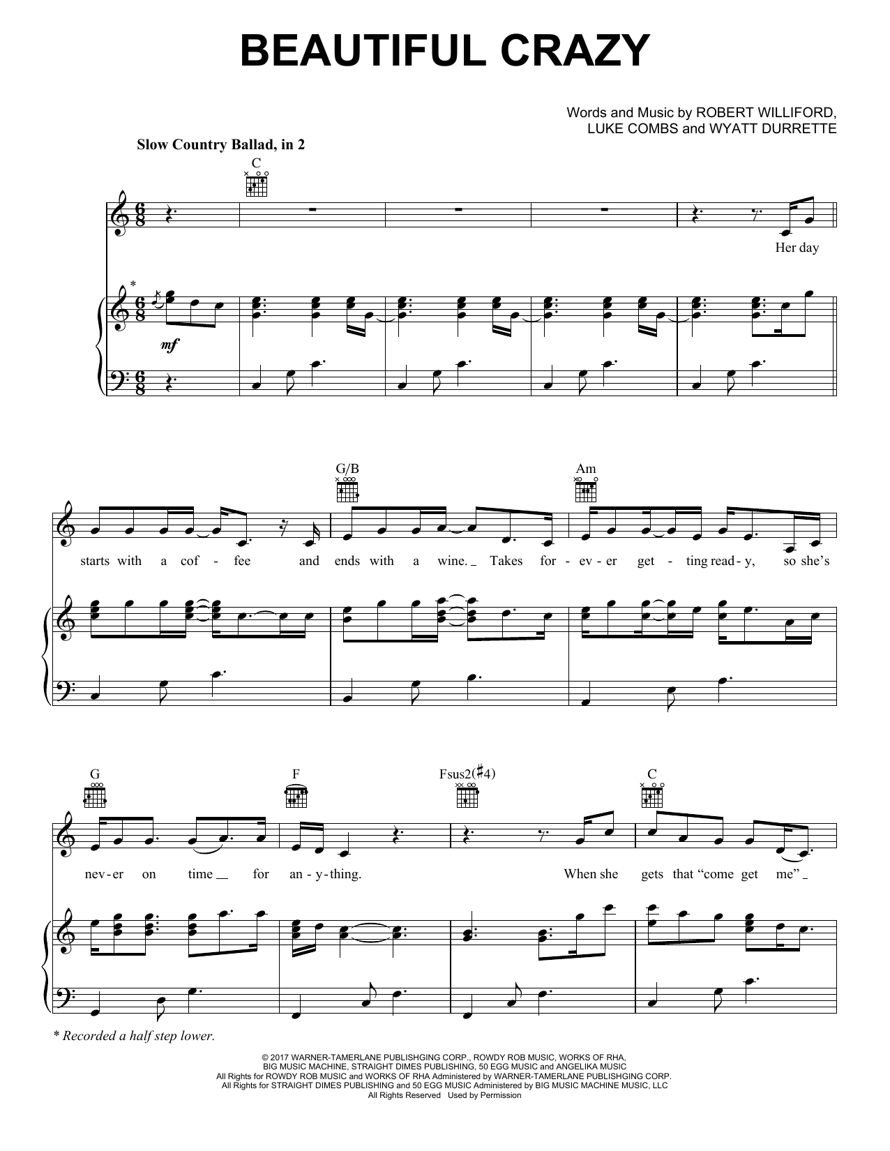 Luke Combs Beautiful Crazy sheet music notes and chords. Download Printable PDF.