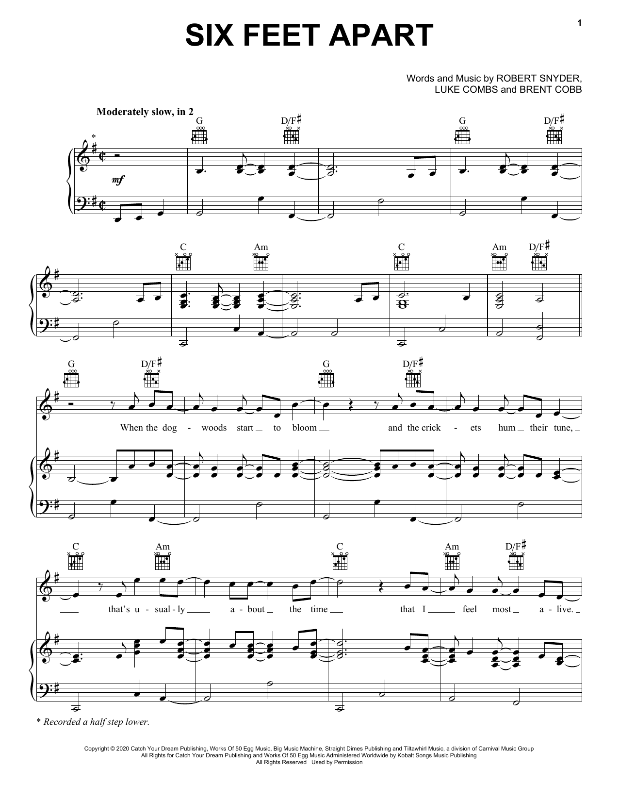 Luke Combs Six Feet Apart sheet music notes and chords. Download Printable PDF.
