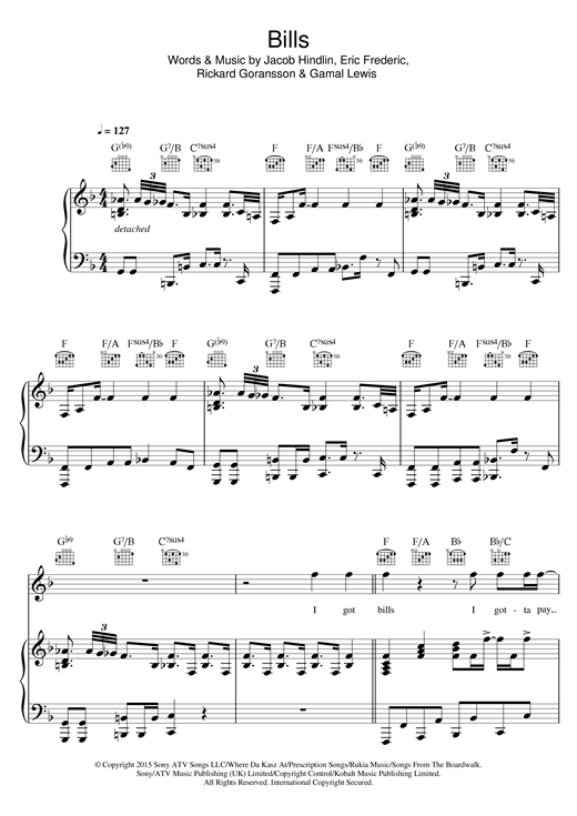 LunchMoney Lewis Bills sheet music notes and chords. Download Printable PDF.