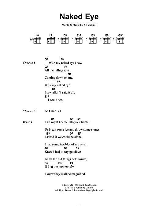 Luscious Jackson Naked Eye sheet music notes and chords. Download Printable PDF.