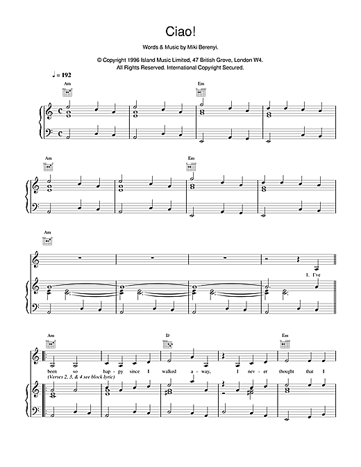 Lush Ciao! sheet music notes and chords