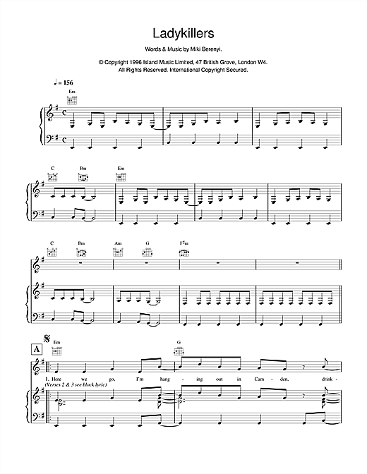 Lush Ladykillers sheet music notes and chords