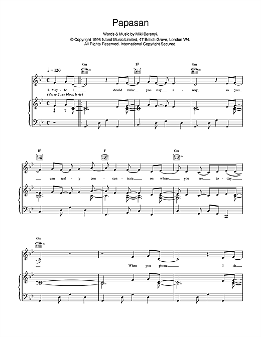Lush Papasan sheet music notes and chords